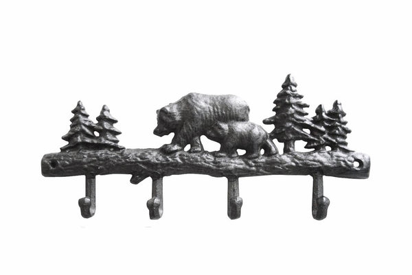 Bear 4 Hook Rack, Cast Iron