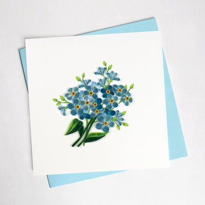 Quilling Card- Hand Crafted, Alpine Forget-Me-Not