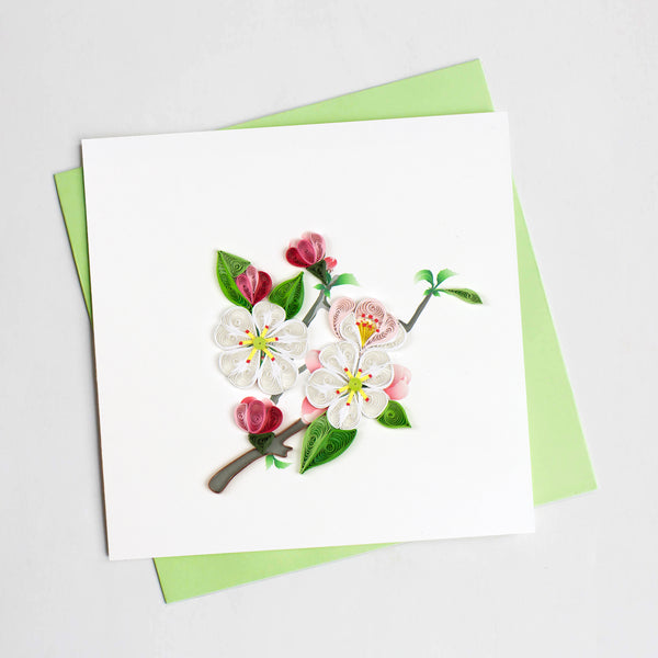 Quilling Card- Hand-Crafted Cards, Apple Blossom