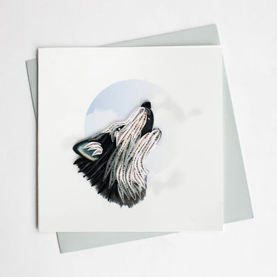 Quilling Card- Hand Crafted, Wolf