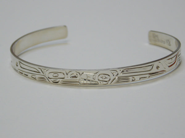 Silver Bear & Frog Bracelet Hand Carved by Ron Sebastian