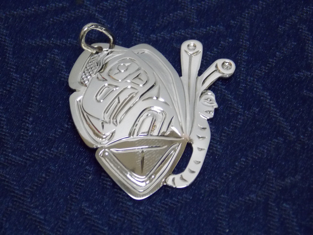 Silver Raven Pendant Hand Carved by Ron Sebastian