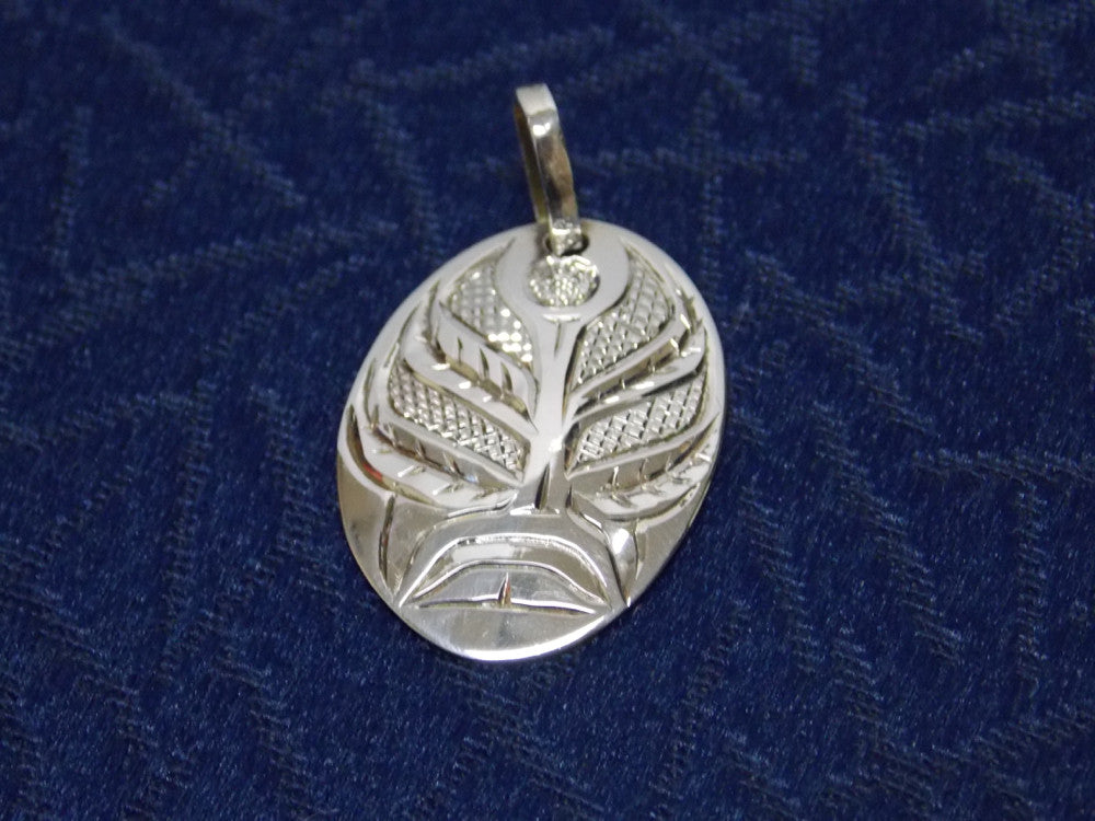 Silver Fireweed Pendant Hand Carved by Ron Sebastian