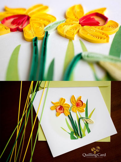 Quilling Card- Hand Crafted, Daffodil