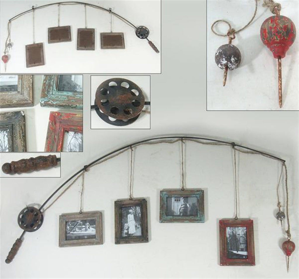 Fishing Rod Hanging Frames Wall Collage