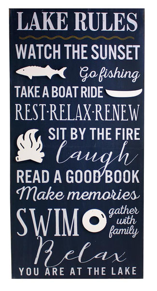Splash- Wall Plaque, Lake Rules