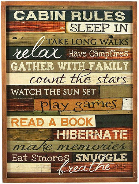 Splash- Wooden Plaque, Cabin Rules