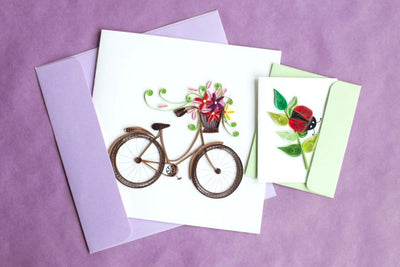 Quilling Card- Hand-Crafted Cards, Bike