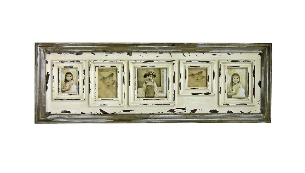 Splash- 5 Picture Frame, Antique White