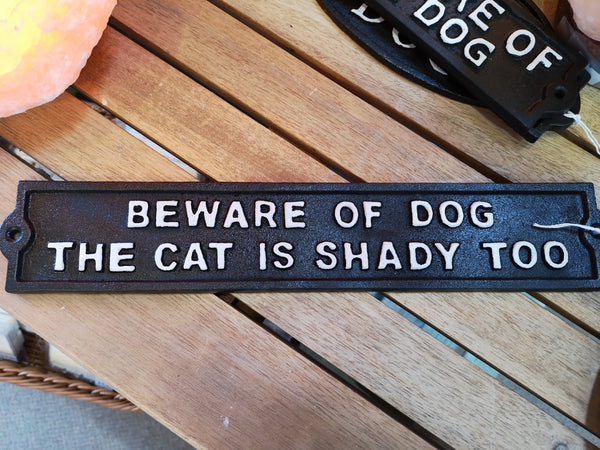 Beware of Dog/Cat Plaque, Cast Iron