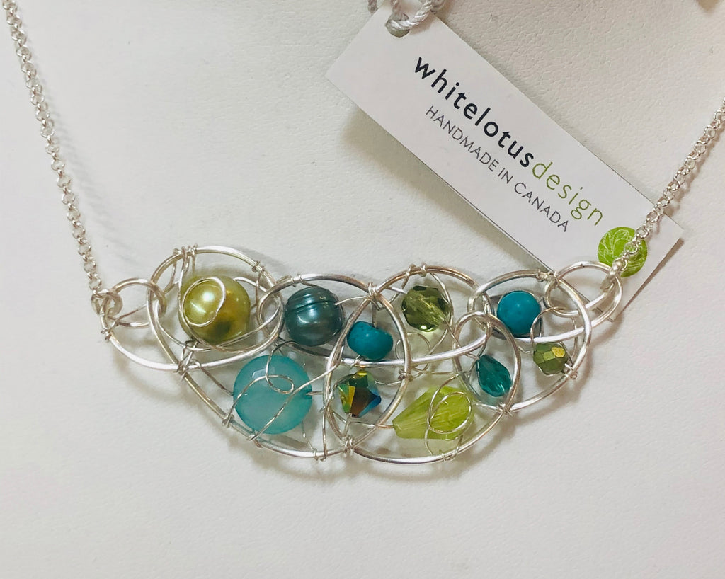 White Lotus- Beaded Seaglass Cluster Necklace