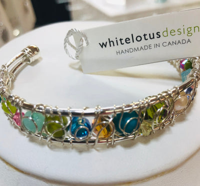 White Lotus- Wire Woven Cuff Multi Colour