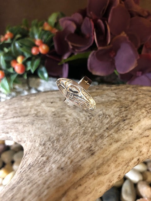 Ron Sebastian- Silver Oval Hummingbird Ring