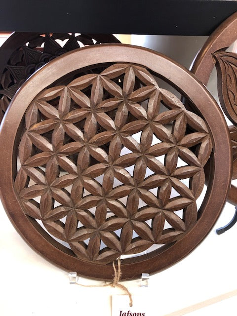Jafsons- Wooden Flower Of Life Wall Art 12""