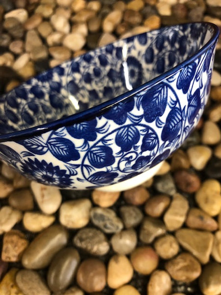 "Ace- Bowl 4.75"", Blue Vine Flower, Japanese Style Stoneware"