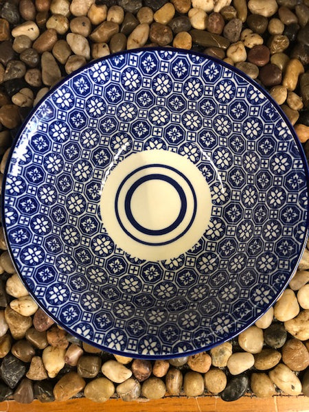 Ace- Blue Flower Bowl, Japanese Style Stoneware