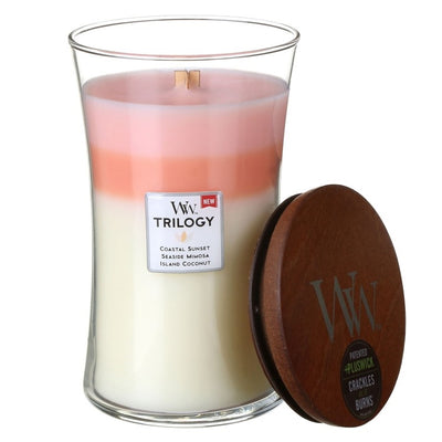 Woodwick- Crackling Candle, Trilogy - Island Getaway