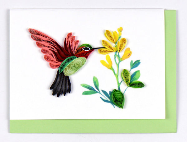 Quilling Card- Hand-Crafted Cards, Hummingbird