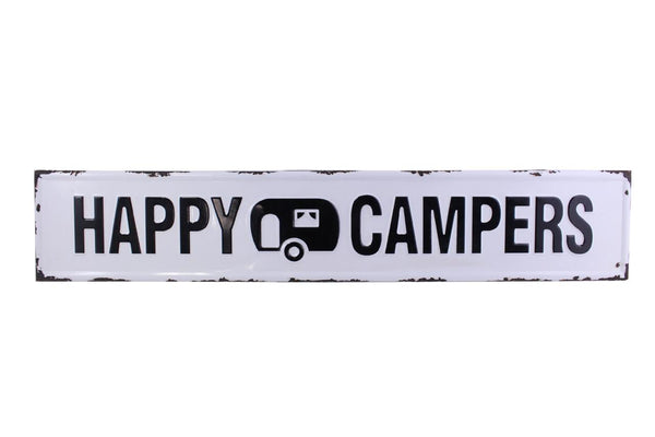 Splash- Embossed Metal Sign, Happy Campers