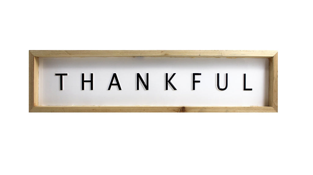 Splash- Wood Framed Sign, Thankful