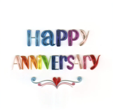 Quilling Card- Hand Crafted, Happy Anniversary