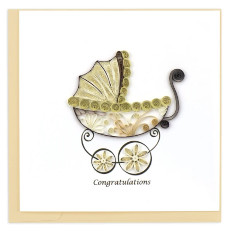 Quilling Card- Hand Crafted, Baby Carriage