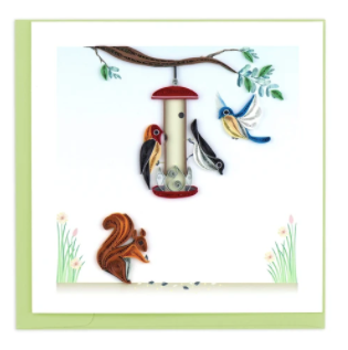 Quilling Card- Hand-Crafted Cards, Bird Feeder