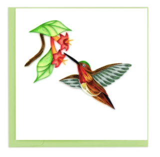 Quilling Card- Hand-Crafted Cards, Rufous Hummingbird