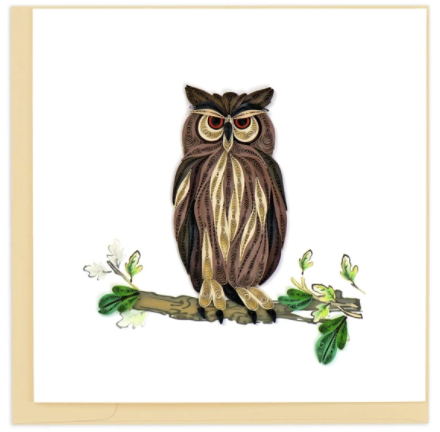 Quilling Card- Hand-Crafted Cards, Great Horned Owl