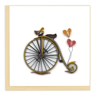 Quilling Card- Hand Crafted, Vintage Bicycle