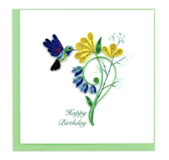 Quilling Card- Hand Crafted, Birthday Hummingbird