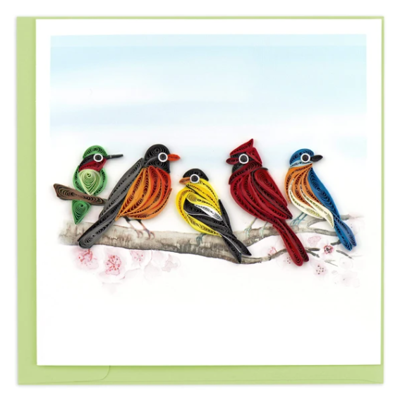 Quilling Card- Hand Crafted, Songbirds
