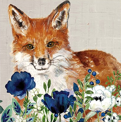 "Cypress Home- ""Flowers & Fox"" Napkins-20 Pack"