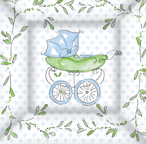 "Ideal Home Range- Paper Napkins ""Baby Carriage Blue""-20 Pack"