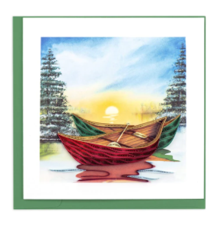 Quilling Card- Hand-Crafted Cards, River Canoes
