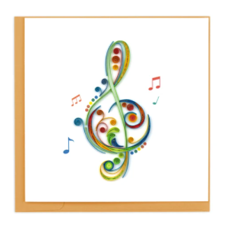 Quilling Card- Hand-Crafted Cards, Treble Clef