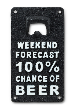 Abbott- Cast Iron 100% Chance of Beer Bottle Opener