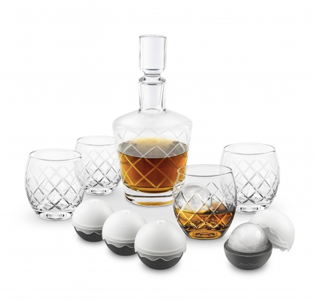 Final Touch- On the Rock Glass & Ice Ball Set (10 Pc)