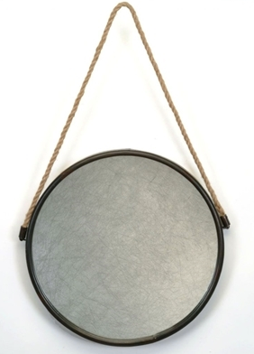 "Bacon Basket- Round 23.5"" Mirror w/ Rope"