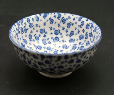 "Ace- Bowl 4.75""- Sm. Blue Flower- Japanese Style Stoneware"