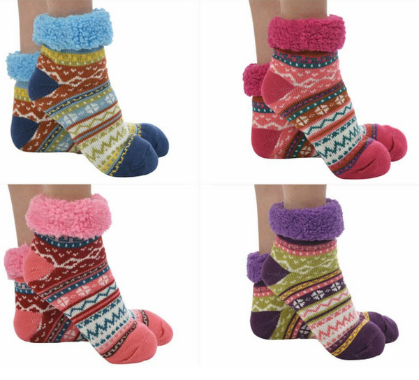 Snoozies- Sherpa Lined Bright Footies - 50% OFF