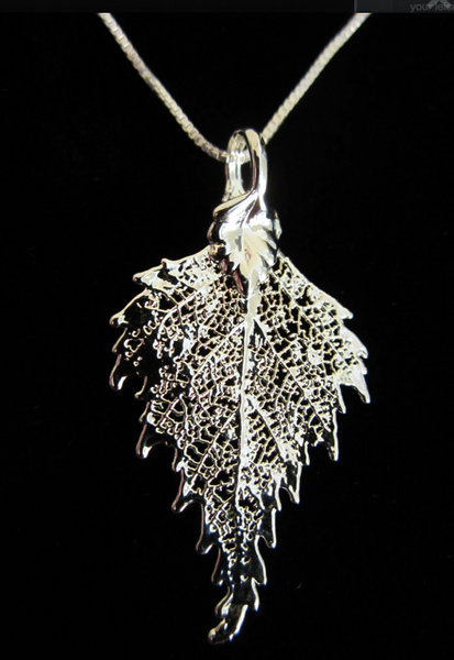 Frosted Leaves- B.C Birch Leaf Necklace