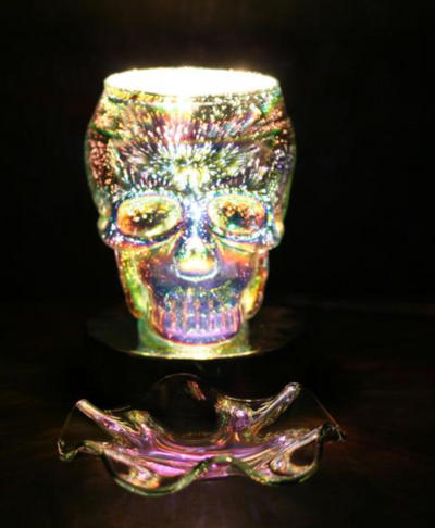 Ace- Touch Lamp w/ Ess Oil Cup, Silver Skull