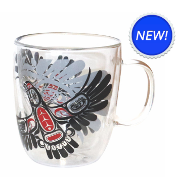 Native Northwest-Double Walled Glass Mug-Eagle's First Flight