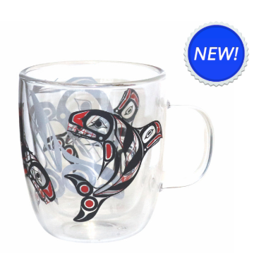 Native Northwest-Double Walled Glass Mug-Raven Fin Killer Whale