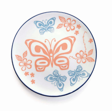 Native Northwest-Porcelain Plate-Butterfly & Wild Rose