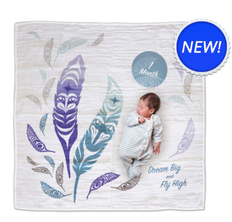 Baby Blanket/Milestones Set, Feathers-Simone Diamond