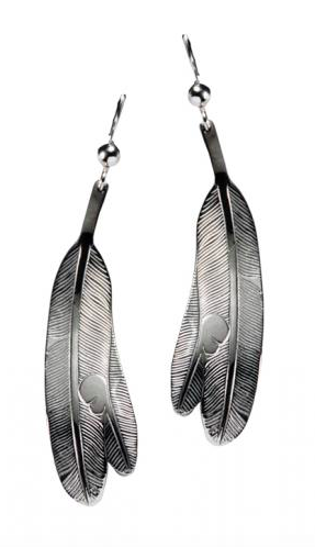 Earrings, Eagle Feathers-Bill Helin