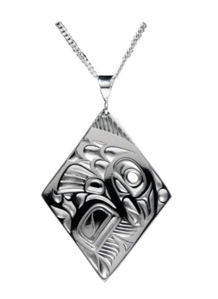 Panabo - Bill Helin - Silver Pewter Pendant - Salmon Diamond