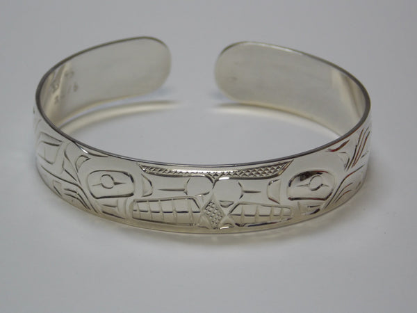 Silver Bear & Wolf Bracelet Hand Carved by Ron Sebastian